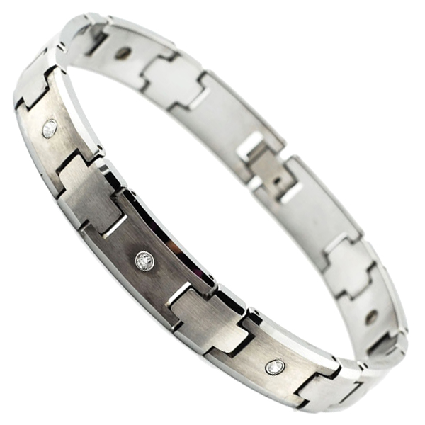 WOLLET tungsten jewelery of fashion high quality magnetic tungsten bracelet with CNC setting cz stones