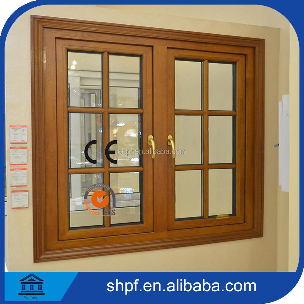 Doble vidrio templado ventana de aluminio revestido de for Ventanas de aluminio con marco de madera