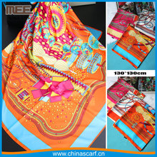 custom 130*130cm cotton twill silk scarf factory travel print silk head scarf