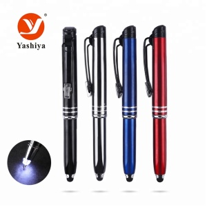 Promotional gift custom pens with logo led light pens with stylus