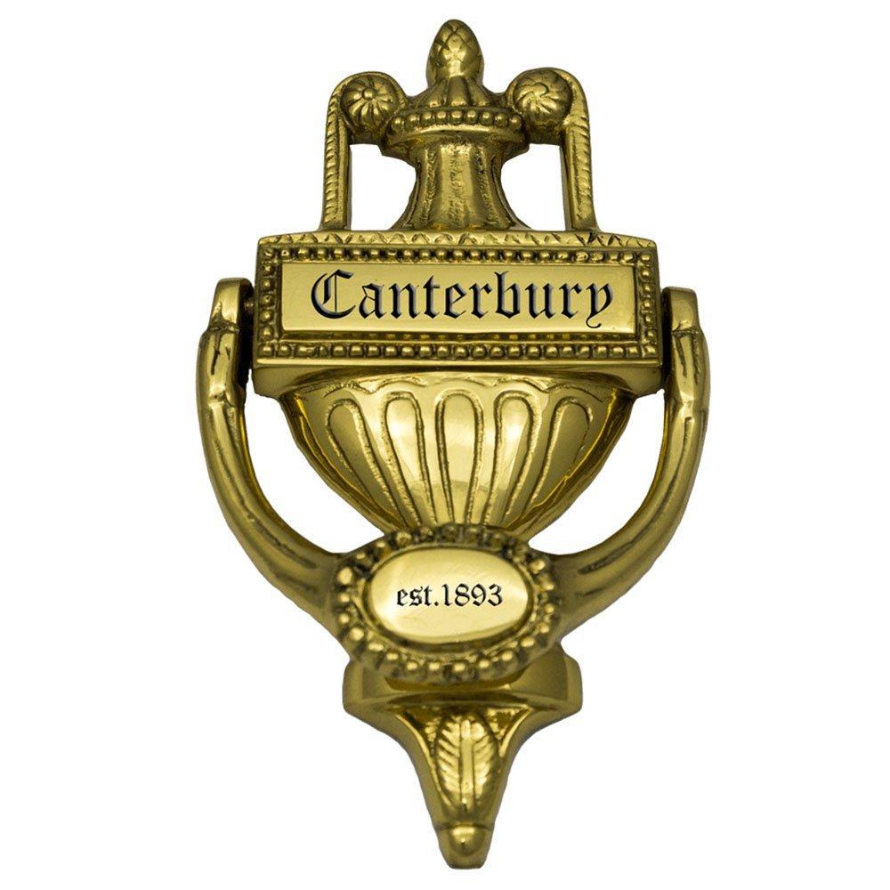"Prestige Plaques Personalized Door Knocker, Ornate Design, Large Size, Polished Brass, Engraved, 7.25"" x 4"""