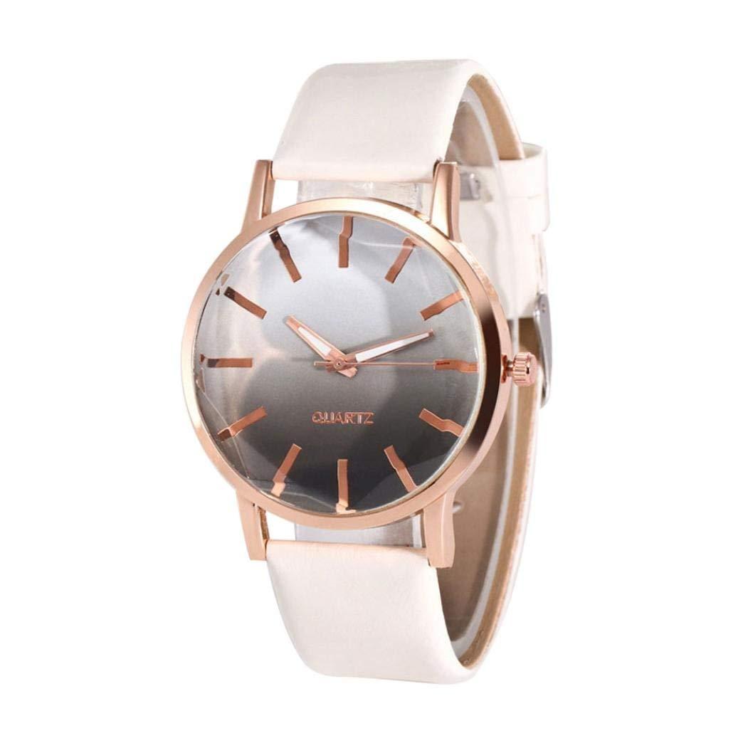 FAPIZI Clearance✿Women's Watch✿Quartz Watches On Sale Popular Gradual Color Scale Convex Two Color Creative Women's Watch Casual Wristwatches For Women Alloy Leather Watch
