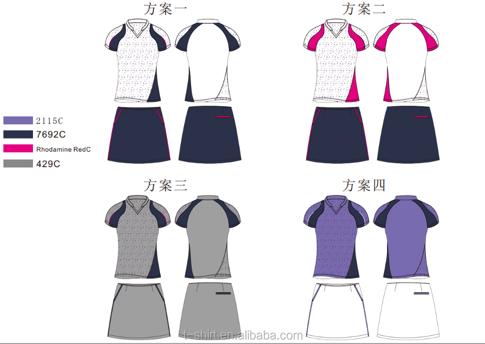 ladie's new design short sleeve top quality golf shirt and skorts