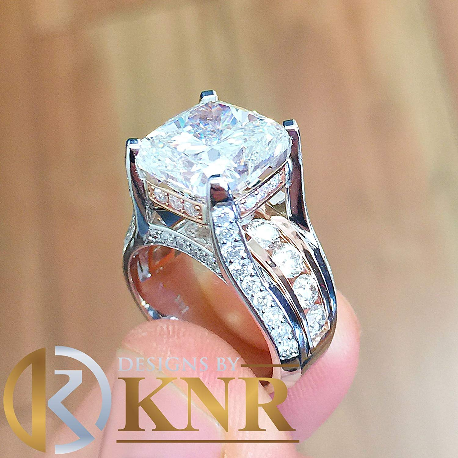 Engagement Rings Lovely Certified 5.00ct Big Round Moissanite Engagement Wedding Ring In 14k White Gold Bright In Colour Cz, Moissanite & Simulated