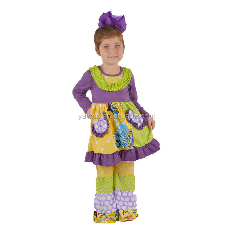 2016 yawoo long sleeve purple patchwork pocket dress and pants set kids clothing wholesale from turkey