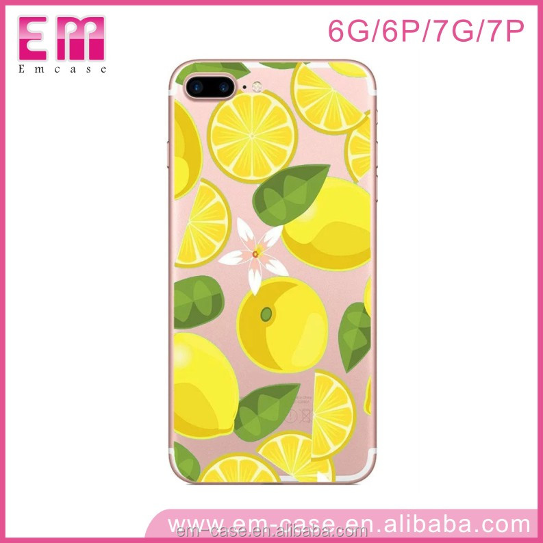 Newest Personalized Hot TPU Cover Fresh Fruit Lemon Skin Summer Colorful Soft Case for iPhone 7 7Plus