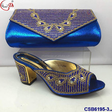 Chowleedee Hot Sale Wedding african CSB6195-3 royal blue color shoes and matching clutch bag