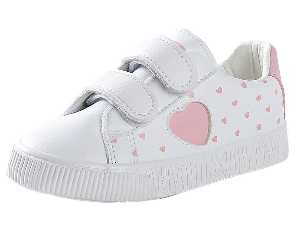 8eba82fba iDuoDuo Girls Cute Peach Heart Prints Tennis Shoes Low Top Outdoor Dress  Sneakers (Toddler