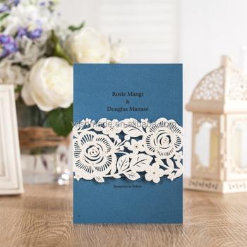 Wishmade new design floral shaped wedding invitation card with navy wishmade new design floral shaped wedding invitation card with navy blue paper aw7019 stopboris Choice Image