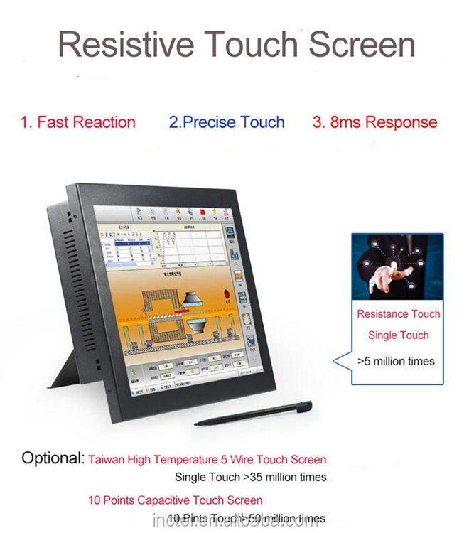 Partaker Elite Z13 15 Inch Made-In-China 5 Wire Resistive Touch Screen Intel Celeron 1037u OEM All In One Pc With 2 COM