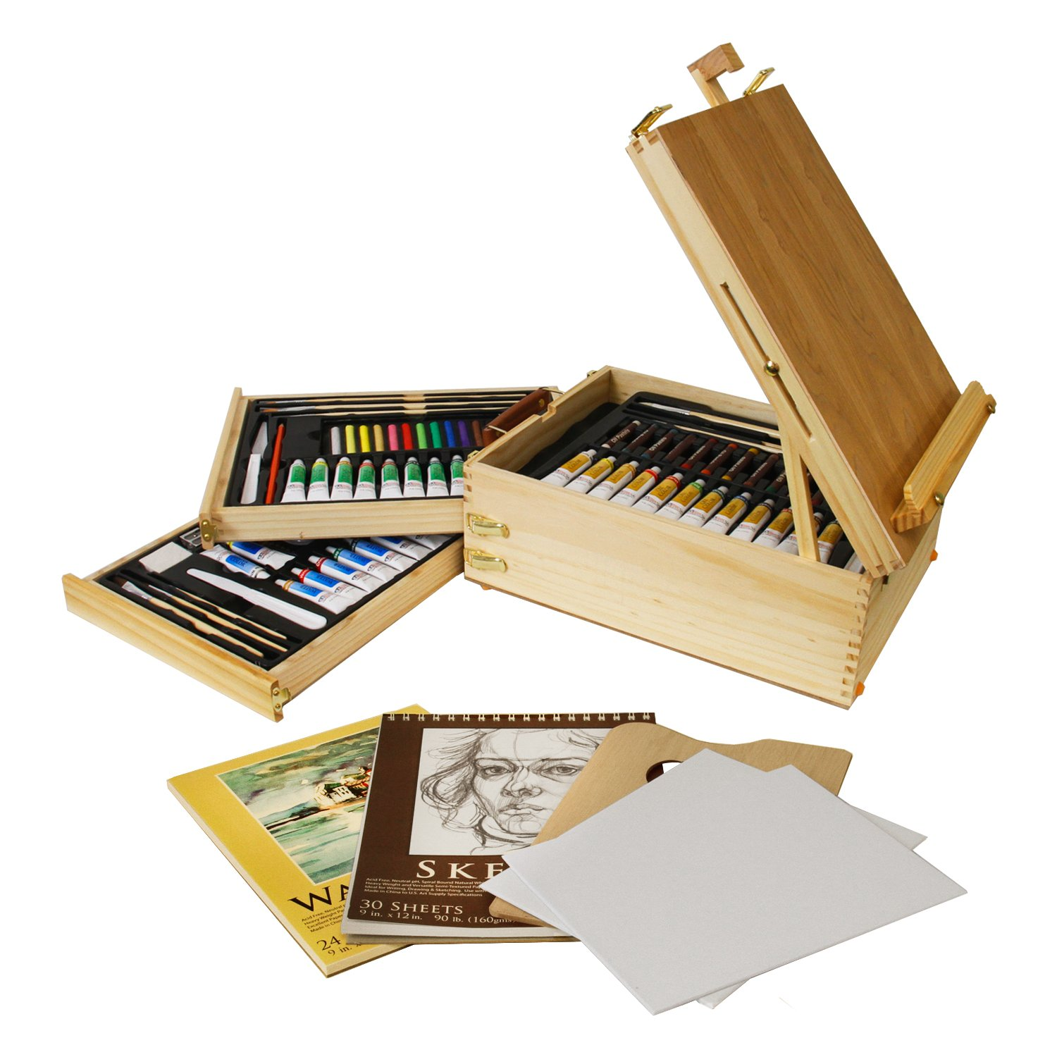 "US Art Supply 95-Piece Wood Box Easel Painting Set - 12-tubes of Oil Colors, 12 Oil Pastels, Plastic Palette Knife, 3 Assorted Oil Painting Brushes, 2-ea 8""x10"" Canvas Panels, 12-tubes of Acrylic Colors, 12 Artist Pastels, 3 Assorted Acrylic Painting Brushes, Palette Knife, Hb Pencil, 12-tubes of"