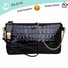 Fashion Womens Genuine Leather Crocodile Zip Around Handbag Evening Party Bag Clutch Purse With Chain