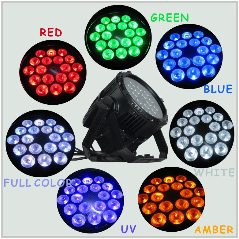 18pcs 15w Dj Rgbwa+uv 6 In 1 Color Mixing Led Par Can Waterproof ...