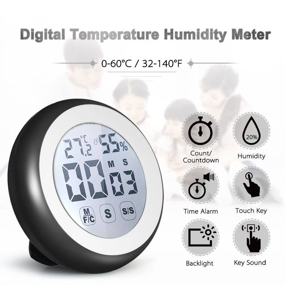 Gabion(TM) Digital Thermometer Hygrometer weather station Temperature Humidity Meter Count Countdown Touch Key +Backlight