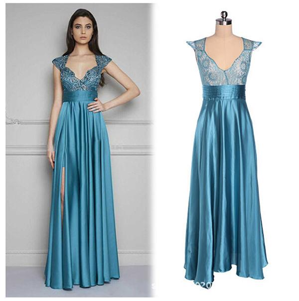 Vestido de saten azul