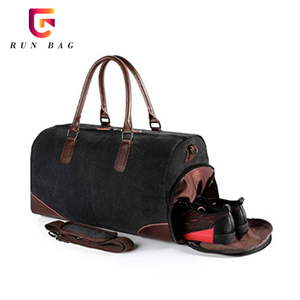 Mens Travel Duffel Canvas Bag PU Leather Trim Weekend Bag With Shoe Pouch
