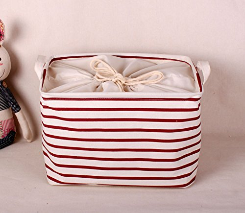 GreenForest Cotton Blend Linen Convenient Collapsible Storage Bin Basket With Totes,Closet Drawer ,Red Strips(13.6x10x7Inches)