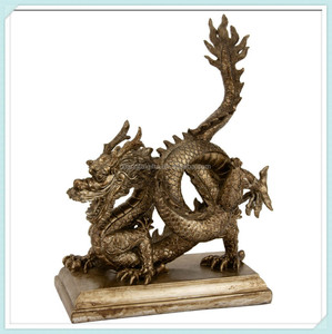 Oriental furniture bronze chinese dragon resin statue