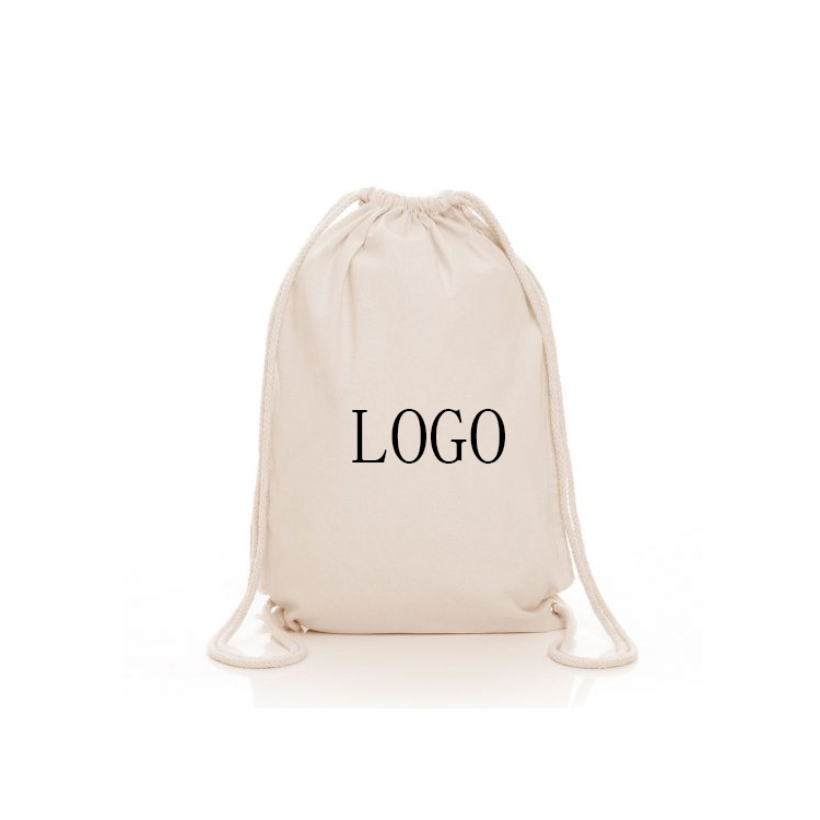 Custom color eco friendly recyclable drawstring pouch cotton bag