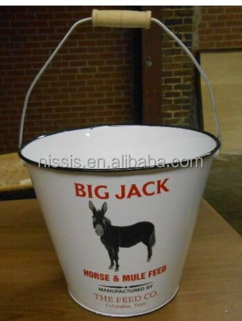Porcelin Bucket /Enamel Water Buckets With Wooden Handle /Galvanized metal ice bucket with stand