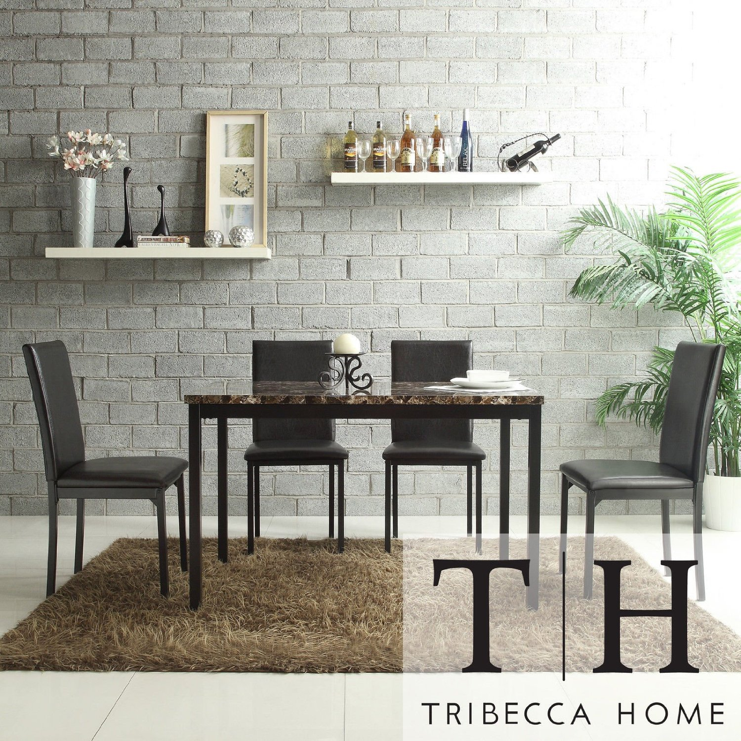 Metro Shop TRIBECCA HOME Darcy Faux Marble Top Black Metal 5-piece Casual Dining Set