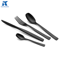 4pcs set High grade metal souvenir Black Flatware