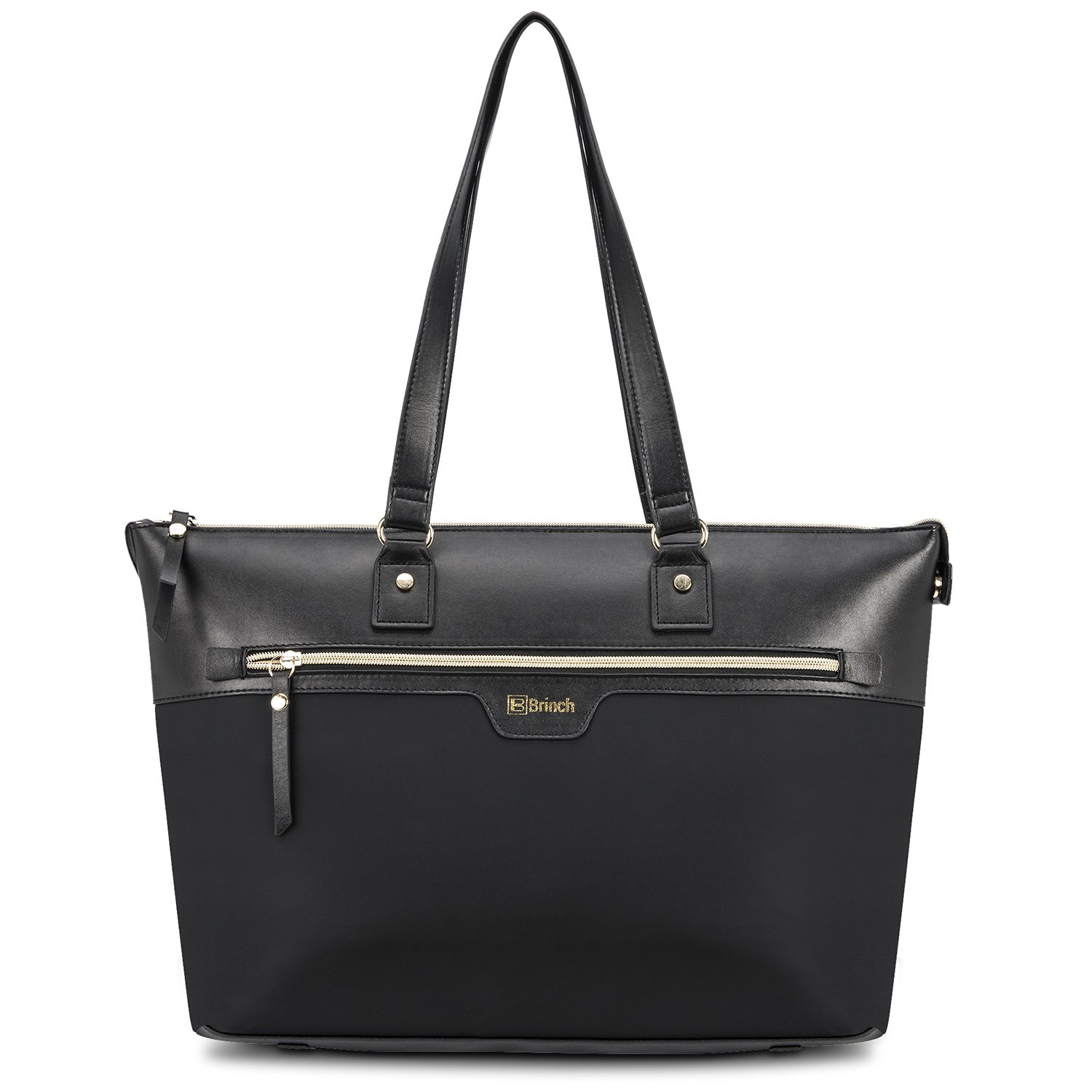 """15.6 Inch Laptop Tote Bag for Women,Fashion Lightweight Ladies Business Computer Handbag Purse PC Carrying Briefcase Multi-Pocket Roomy Bag with Zipper for Work,Fits 13"""",14"""",15.6"""" Laptops,Black"""