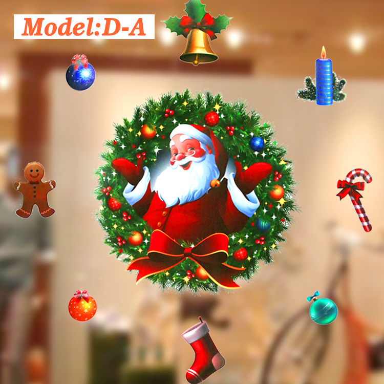 2017 3D Design Santa Deer Cheap Price Christmas Decorations Removable Static Window PVC Sticker