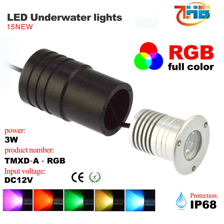 3W rgb led swimming pool lighting ,underwater led lights for fountains small 48*H60 MM RGB underwater light