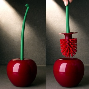 Creative Lovely Cherry Shape Lavatory Brush Toilet Brush & Holder Set (Red)