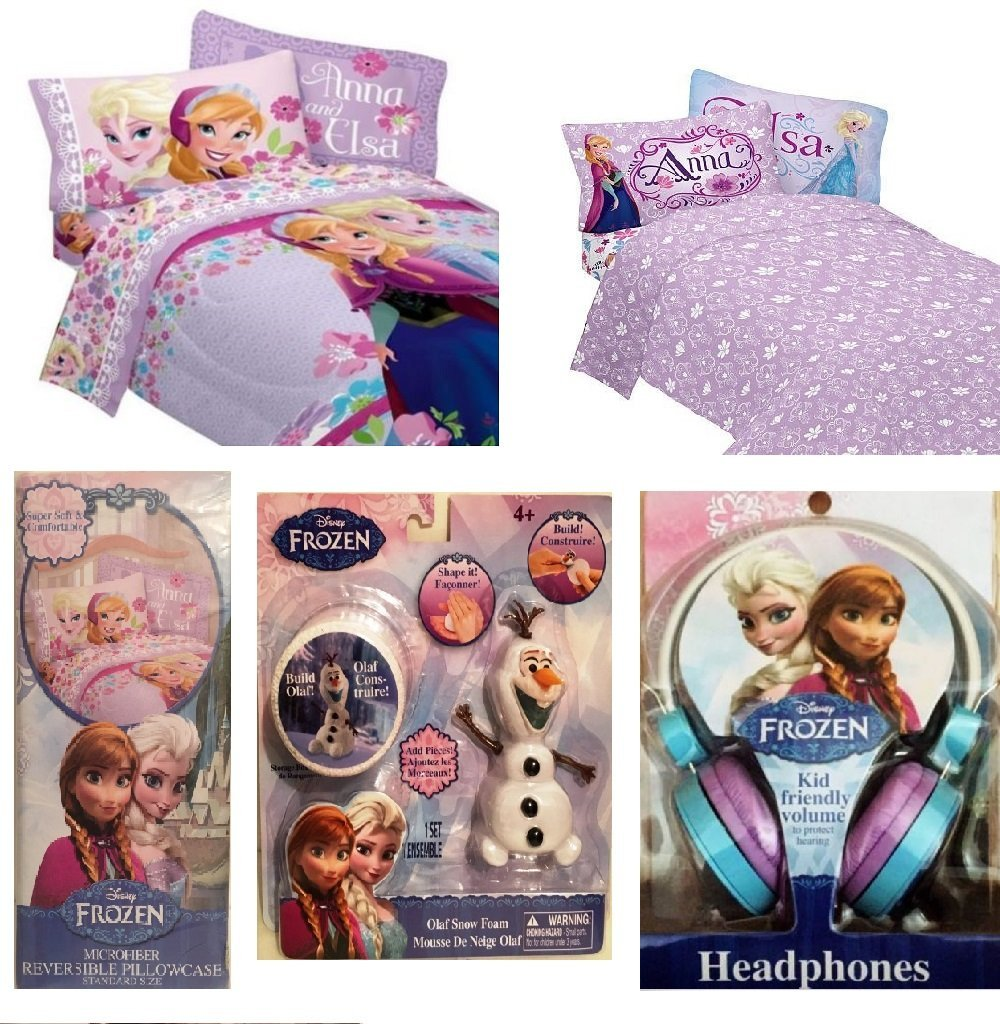 Disney Frozen Twin Size Comforter and Sheet Set Additional Standard Pillowcase Anna Elsa Love Blooms Theme Bedding , Kid Friendly Volume Headphones, Olaf Snow Foam