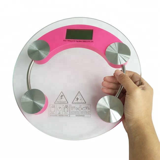 waterproof 26cm round 5mm thick personal weighing body <strong>scale</strong> digital <strong>scale</strong> 100kgs