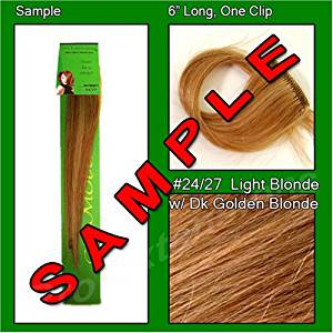 #24/27 Light Blonde with Dark Golden Blonde Highlights, 6 Inch Sample of Clip on in Human Hair Extensions Set