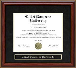 Olivet Nazarene University (ONU) Diploma Frame - Mahogany