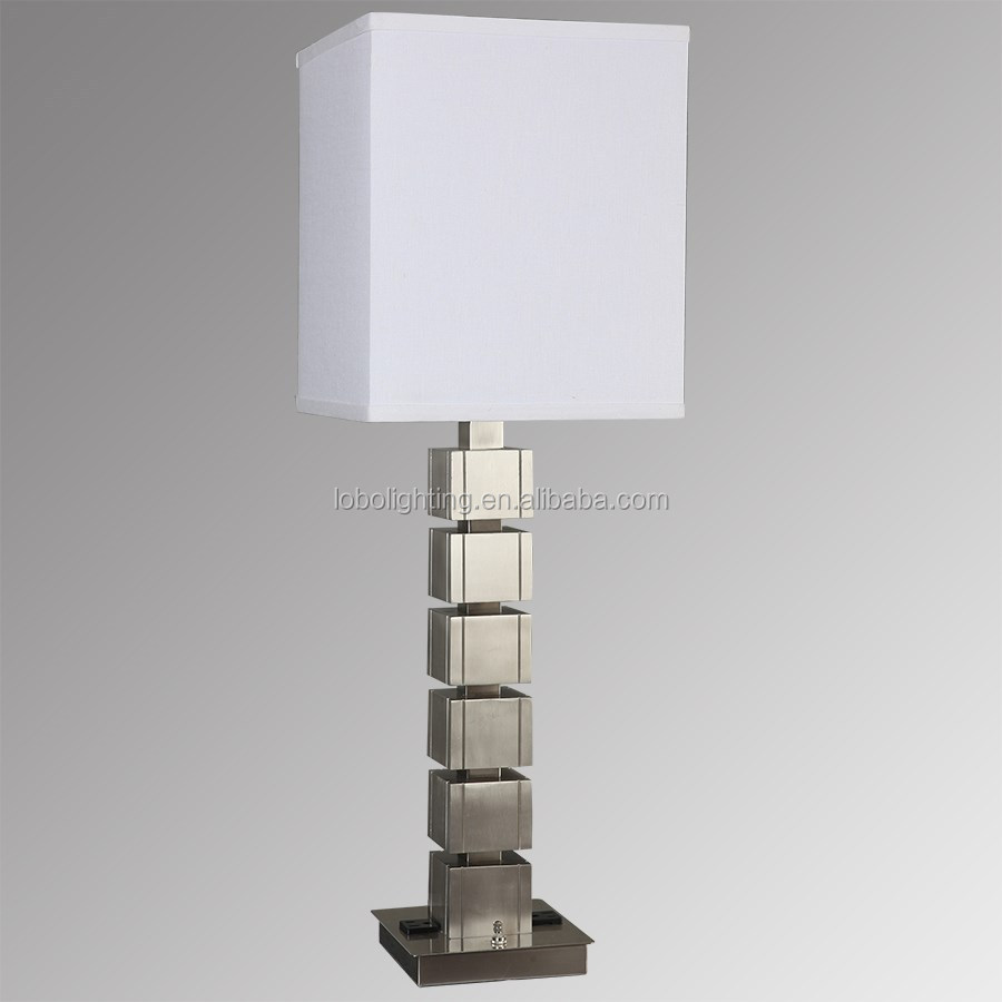 "28"" Faceted Crystal/Polished Nickel Table Lamp with one medium socket and White Linen Round Hardback Shade"