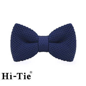 Hi-Tie F-314 Plaion Blue Pre-Tied Polyester Knitted Mens Bow Ties