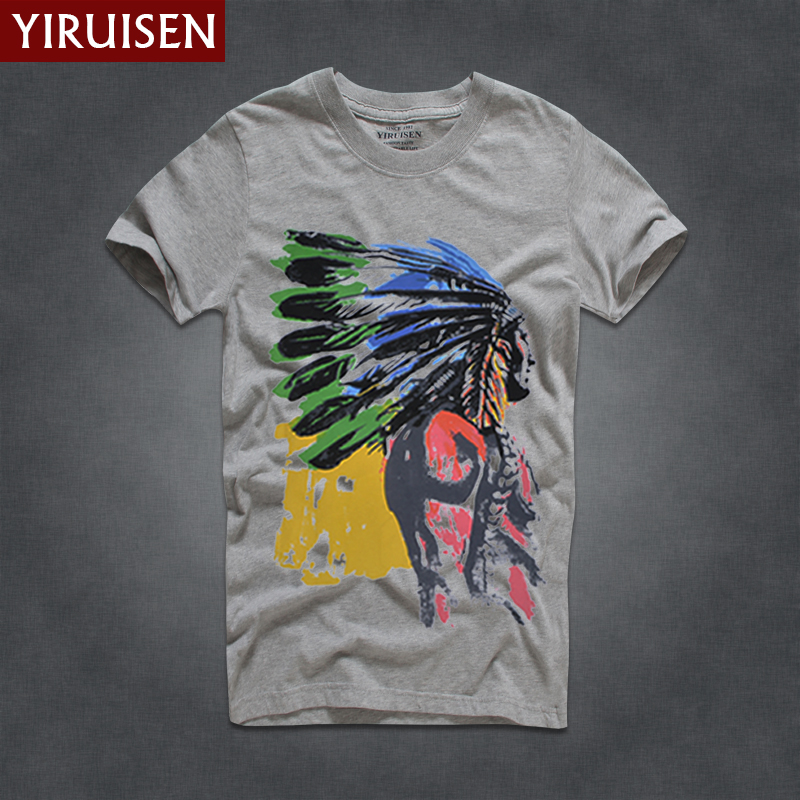 5db67e0b American Casual comfortable Crewneck Short sleeve Men's T-shirt Indian  Feather Headwear Crown Pattern Print