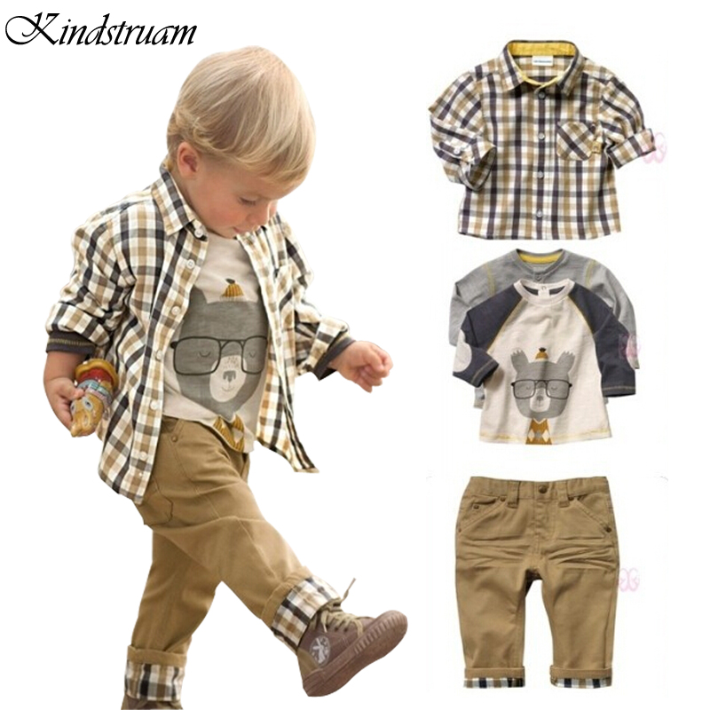 2016 New Spring Kids 3pcs Clothing Sets for Boys European Style Plaid Character Suits T shirt