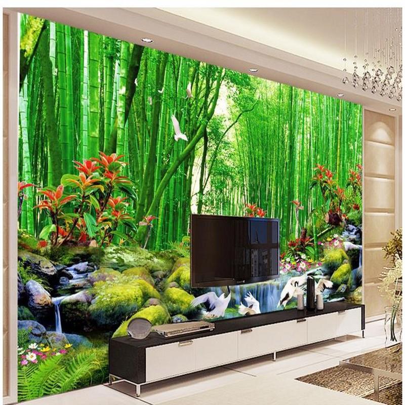 HD Bamboo Murals TV Backdrop 3d Wall Murals Wallpaper For