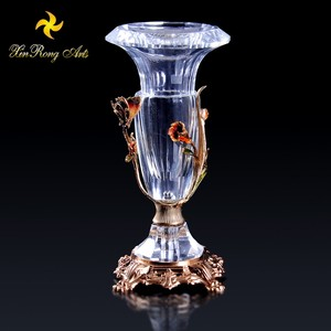 Antique home decor accessories crystal glass vase showpiece with brass