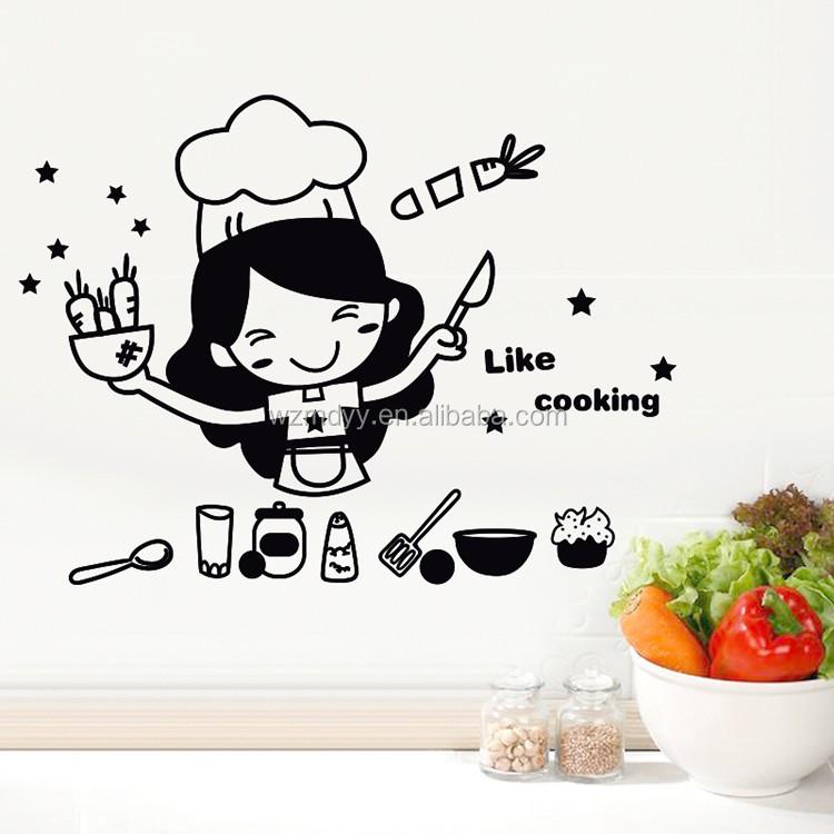 Karakter Kartun Dapur Ubin Dinding Stiker Dekoratif