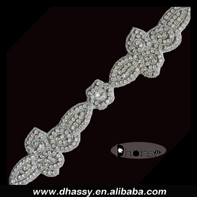 Silver shining hot fix crystal craft clear stone rhinestone beaded trimming for decoration
