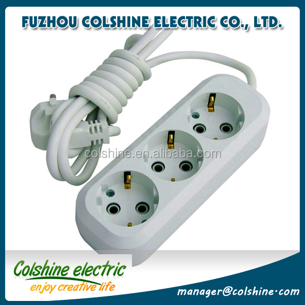 Colshine 3 way/6 way power electrical extension socket with switch and neon /power socket outlet with earth connection