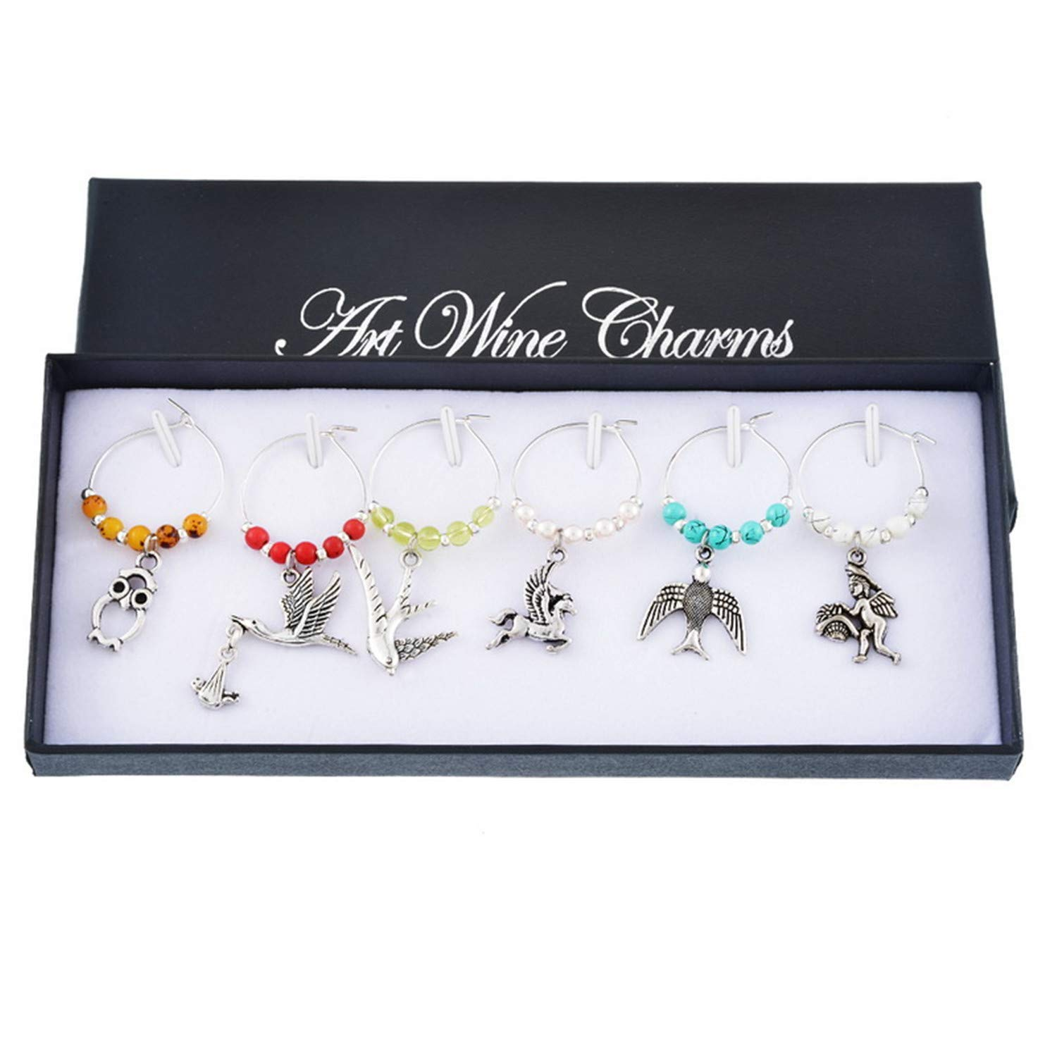 New Year Gift 1Set/6PCs Nature Series Wine Glass Charms Set With Colorful Beads Wine Marker Jewelry For Christmas Table Decor