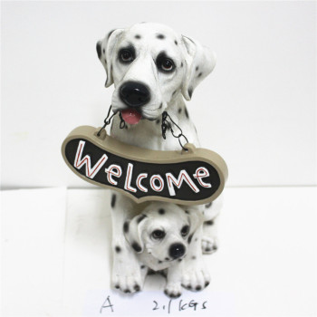 Resin Dalmatian Dog Welcome Sign Indoor Outdoor Decorative Statue And Figurines