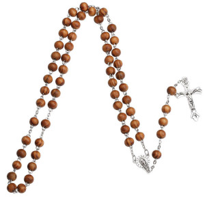 YK Latest Factory Wholesale Olive Wood Jerusalem Rosary Necklace with Cross for Mens Womens