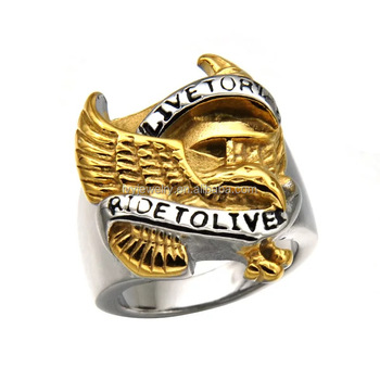 Ijz8010 Heavy Eagle Hawk Silver Gold Stainless Steel Mens Finger
