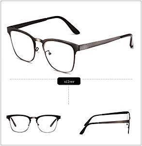 d85e49692c Get Quotations · Skuleer(TM)Eye Glasses Frames For Men Metal Square  Eyeglasses Frame With Clear Lens