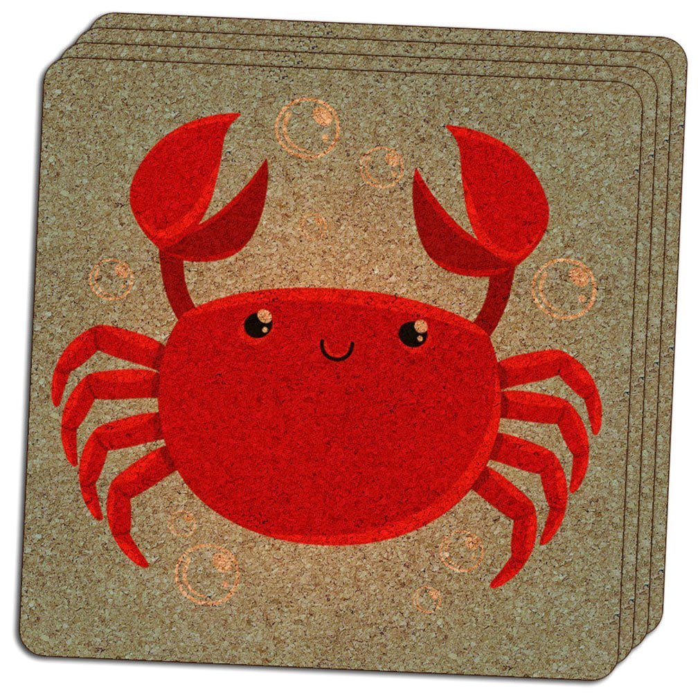 "Custom & Cool {4"" Inches} Set Pack of 4 Square ""Grip Texture"" Drink Cup Coasters Made of Cork w/ Nautical Ocean Life Cute Baby Smiling Crab Bubbles Beach Design [Colorful Blue, White & Red]"