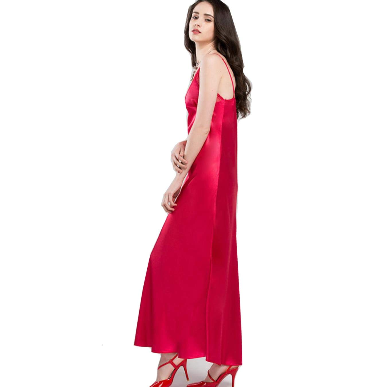 ba27dbfba Get Quotations · NCOEM Lace Sexy V-Neck Sleeveless Sling Sleeping Dress  Satin Silk Sleepwear Women Faux Silk